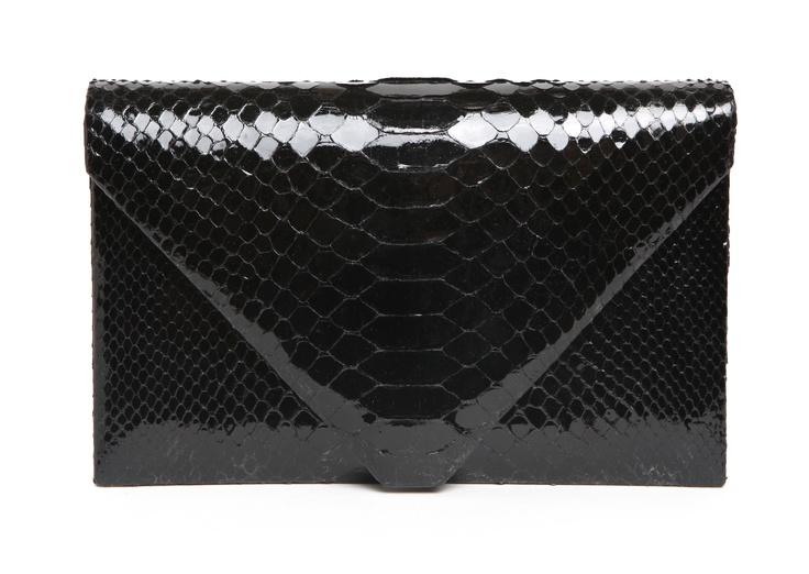 Hunting Season Shiny Black Python Envelope Clutch