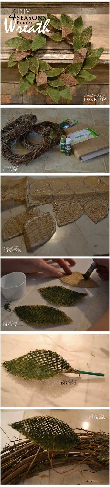 DIY Burlap 4 Seasons Wreath - Easy step-by-step instructions - Church Street Designs - I want to do this in fall colors...No tutorial.