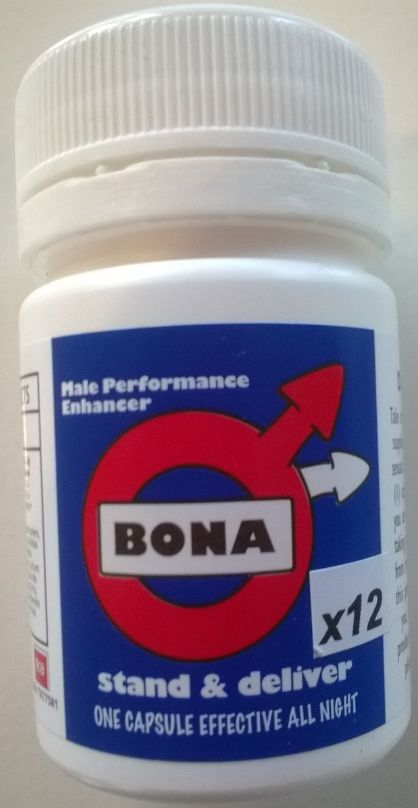 Bona Pills 12 Pack STAND & DELIVER One Capsule Effective All Night. Take one BONA capsule as a dietary supplement 20-30 minutes prior to sexual activity. • Male performance enhancer • Enjoy sex for longer • Maximises your stamina • Helps with premature ejaculation • No Prescription required
