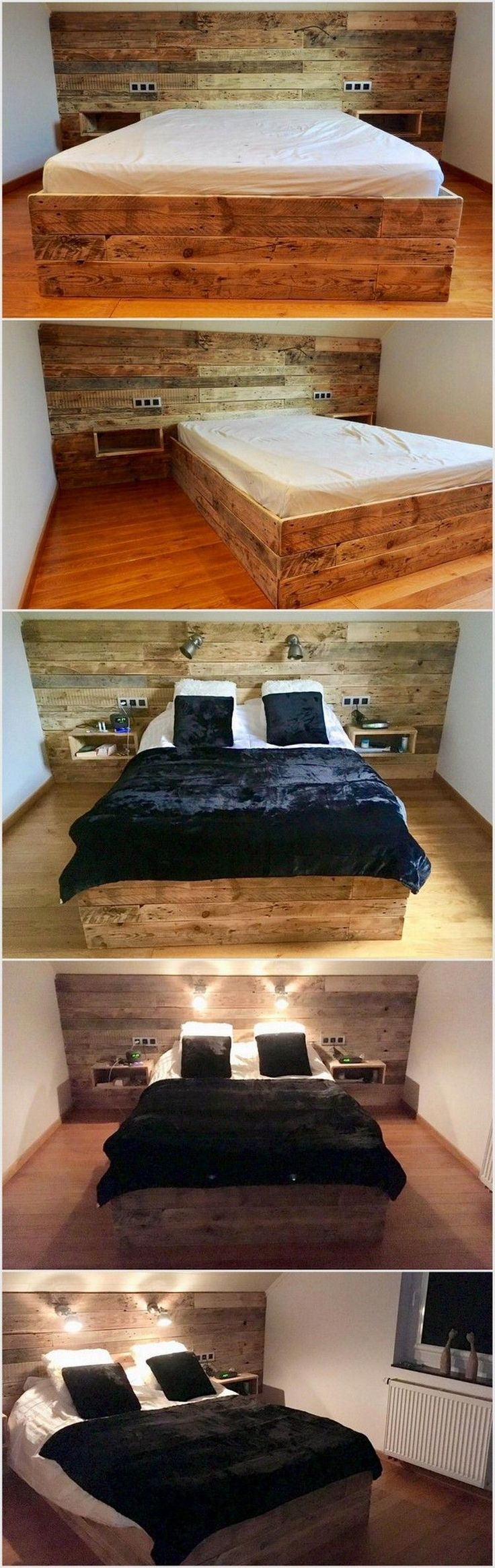 You can now make this awesome pallet wood bed if you have time to beautify your bedroom. We have shown you the creation methods of this project. You can also add lamps on the headboards. The headboard and bed is quite large but you can personalize each of them.