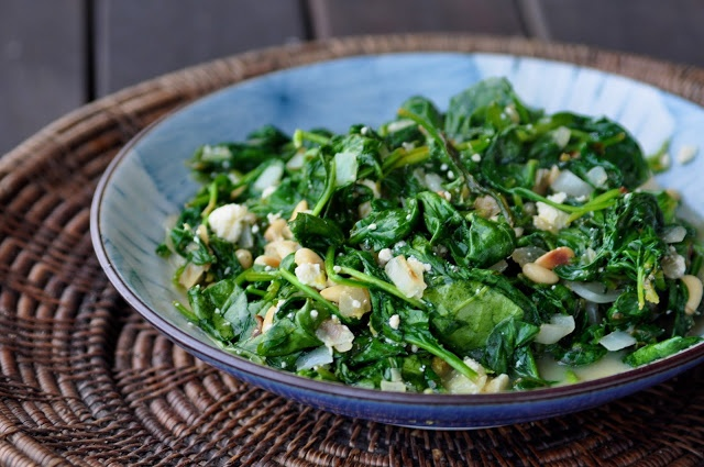 Spinach with Feta & Pine Nuts. This recipe was adapted from the Barefoot Contessa. Delicious!