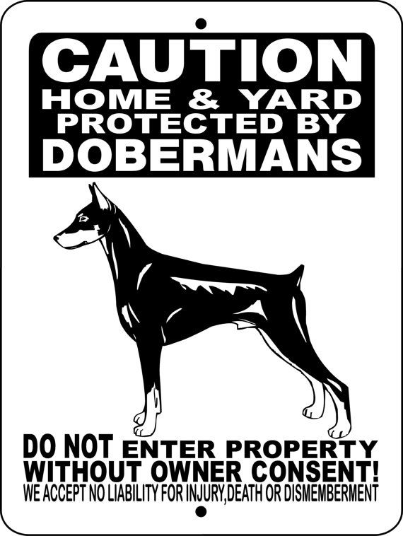 Doberman Pinscher Dog Sign 9x12 ALUMINUM 2496HY