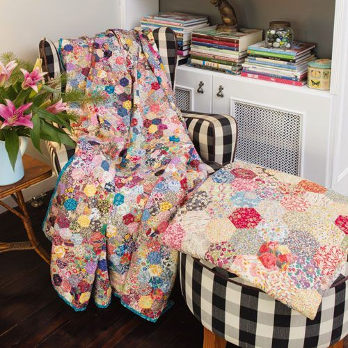 styled shot of strawberry fields hexie quilts