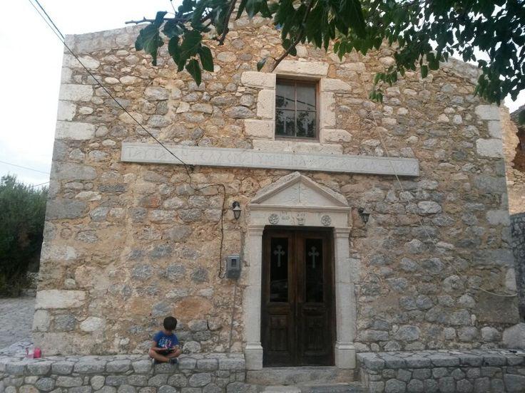 """Κουνος - Εκκλησια Αγ. Νικολαουυ - Μανη - Ελλαδα-KOUNOS VILLAGE.ST NICOLAS CHURCH.BEHIND THE CHURCH STANDS MY FATHER""""S HOME SINCE 1900.  'S"""