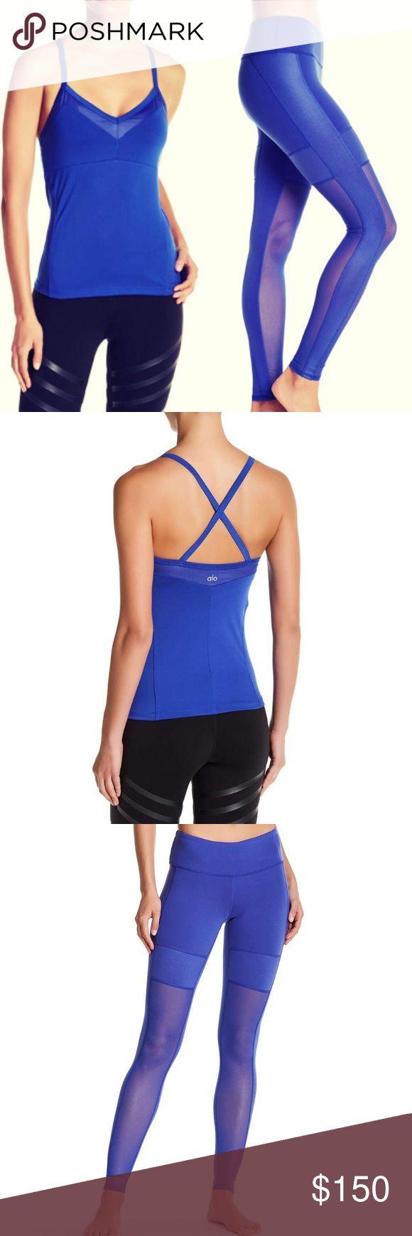 🌟NEW🌟 alo yoga // tank and leggings set NWT ALO yoga electric blue bra tank and mesh detail legging set. Fits TTS! ALO Yoga Pants Leggings