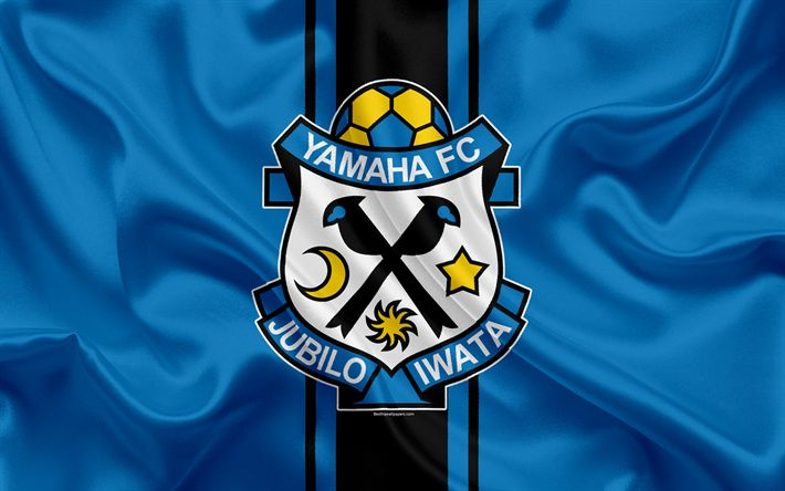 Download wallpapers Jubilo Iwata, 4k, Japanese football club, logo, emblem, J-League, football, Iwata, Shizuoka, Japan, silk flag, League Division 1, Japan Football Championship