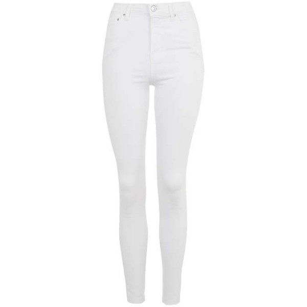 TopShop Moto White Raw Hem Jamie Jeans (£42) ❤ liked on Polyvore featuring jeans, pants, bottoms, calça, topshop, high waisted skinny jeans, rock n roll jeans, high-waisted skinny jeans and high rise skinny jeans