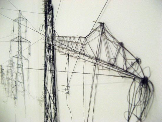 Debbie Smyth, 'pins and threads' (a drawing of electrical pylons).