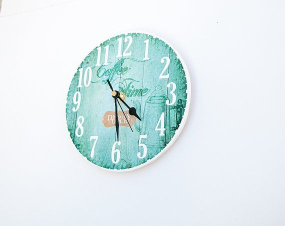 Coffee time clock. Shabby chic style wall clock in turquoise blue shades. Coffee Pot
