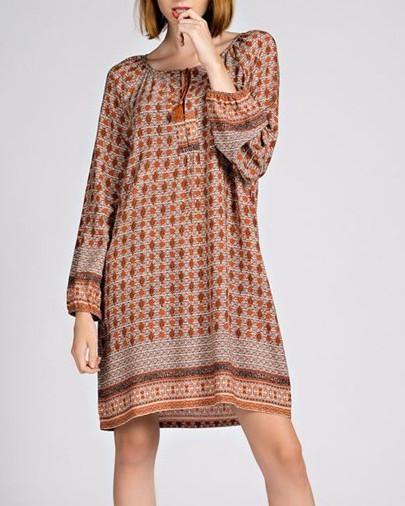 Border Print Boho Dress - Livin' Freely  - 1