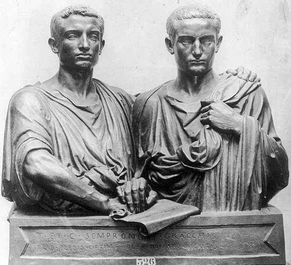 The Gracchi brothers were at the center of the social conflict eventually destroying Roman Republic. (Later both end up being assassinated)