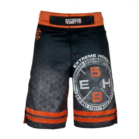 Grappling shorts REBEL. Color: black. Extreme Hobby shorts is a new design of MMA oriented fightwear. Innovative lacing system provide a perfect and firm fit while sewn in the crotch strech panel and leg cuts ensure unlimited range of motion and unmatched comfort. Special Waistband prevents shorts from slipping during fight.  Reinforced seams for greater durability.