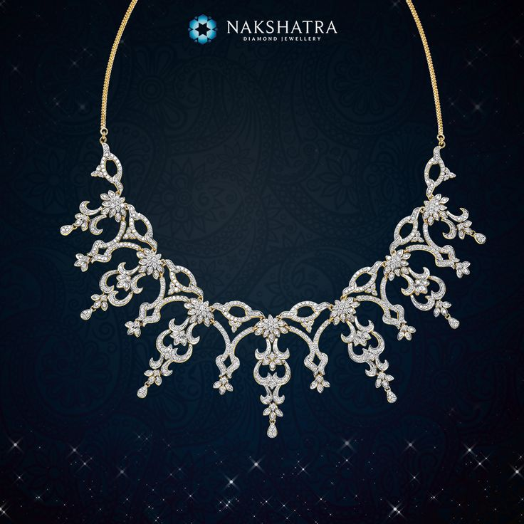 Let entwined cluster of diamonds from this Nakshatra diamond necklace embellish your bridal ensemble with divine grace.