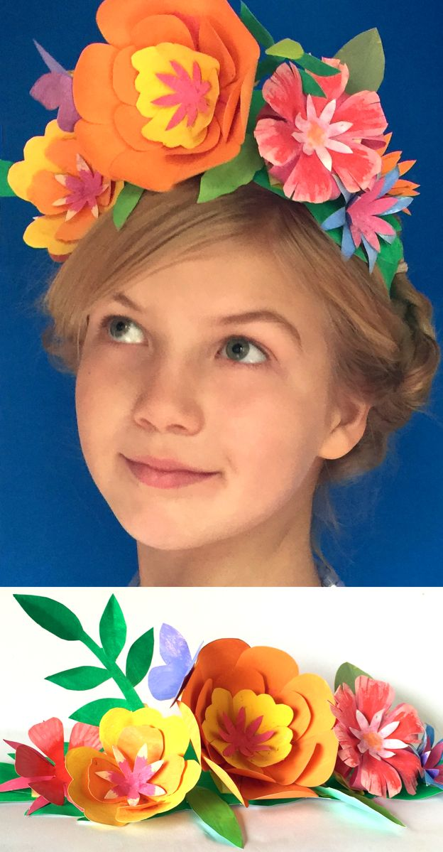 Make a paper flower crown for Cinco de Mayo! Tutorial and templates at happythought.co.uk https://happythought.co.uk/cinco-de-mayo/paper-flower-crown
