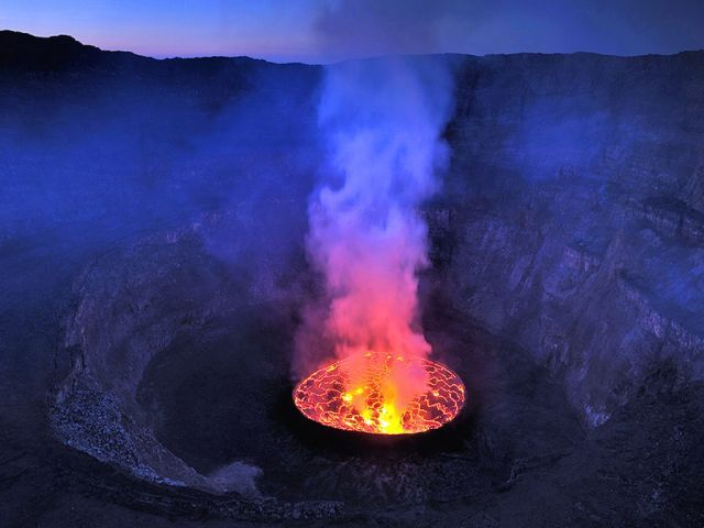 Mount Nyiragongo in Virunga National Park, Democratic Republic of the Congo (UNESCO World Heritage Site)