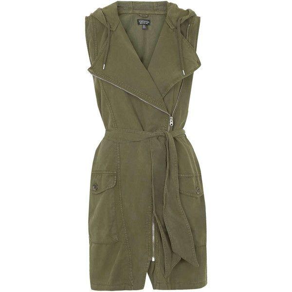 TOPSHOP Sleeveless Tencel Parka Jacket ($50) ❤ liked on Polyvore featuring outerwear, jackets, dresses, vests, jumpsuits, khaki, khaki jacket, topshop, black hooded jacket and hooded parka jacket