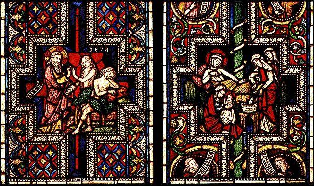 Витраж Кёльнского собора, фрагмент (Ева и Дева Мария)