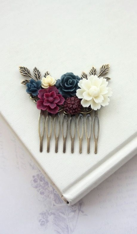 Wedding Hair Comb, Burgundy, Ivory, Maroon and Navy Blue Wedding, Maroon and Dark Blue Flower Hair Piece by Marolsha.  https://www.etsy.com/listing/169698362/wedding-hair-comb-burgundy-ivory-maroon?ref=shop_home_active_23