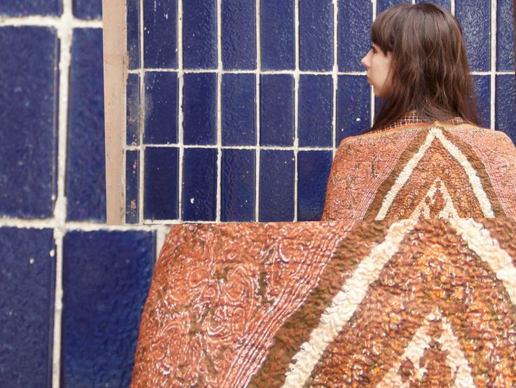 Moth - cashmere on nuno felt shawl 2013 - Vanda Robert