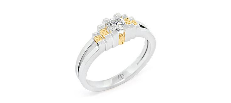 Inspired Empire Delicate Diamond Ring. Ring inspired by the Empire State Building. The Empire Ring pictured is crafted in platinum and yellow gold and set with a round brilliant cut diamond of 0.25ct.