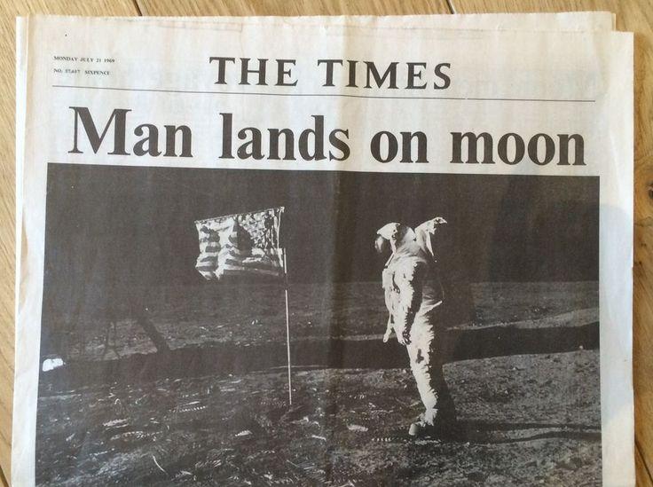 MAN LANDS ON MOON 21 July 69 ORIGINAL Times Newspaper ...