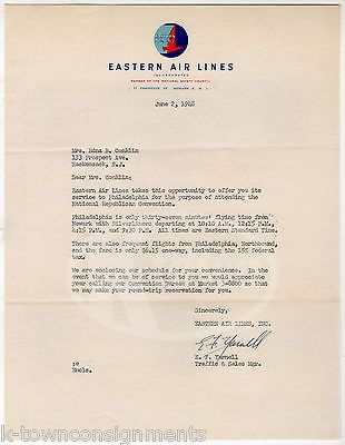 EASTERN AIRLINES SALES MANAGER VINTAGE AUTOGRAPH SIGNED AIRLINE LETTERHEAD 1948