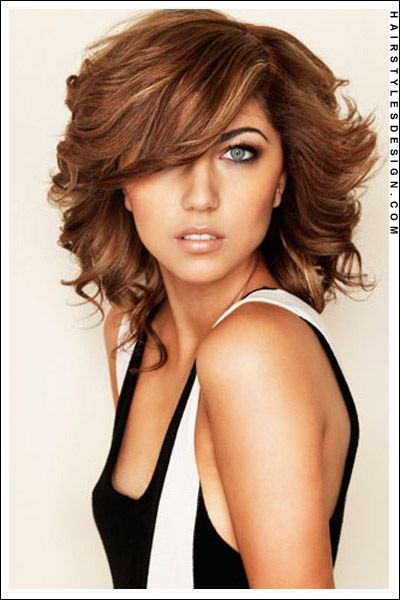Medium Hairstyles - Gorgeous Thick, Wavy Haircut with Side Swept Bangs!
