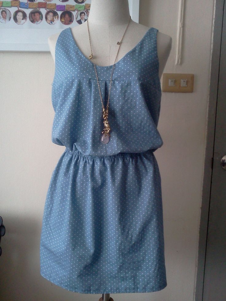 View details for the project Casual dress in Blue Polkadot  on BurdaStyle.
