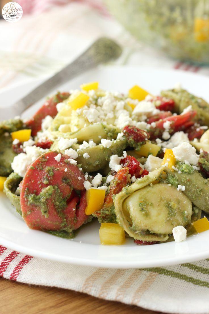 Super Easy Pesto Tortellini Salad from A Kitchen Addiction