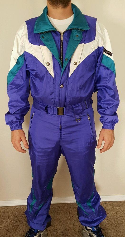 90s DESCENTE Ski Suit Bright Metallic Purple Snow Onesie 1 Piece Mens Medium…