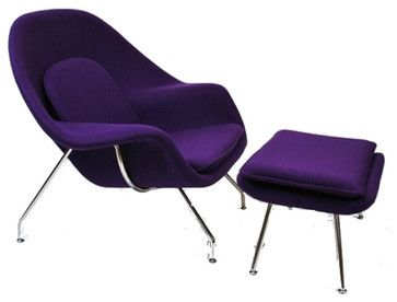 Eero Saarinen Style Womb Chair and Ottoman, Purple - contemporary - Outdoor Chaise Lounges - Contemporary Furniture Warehouse