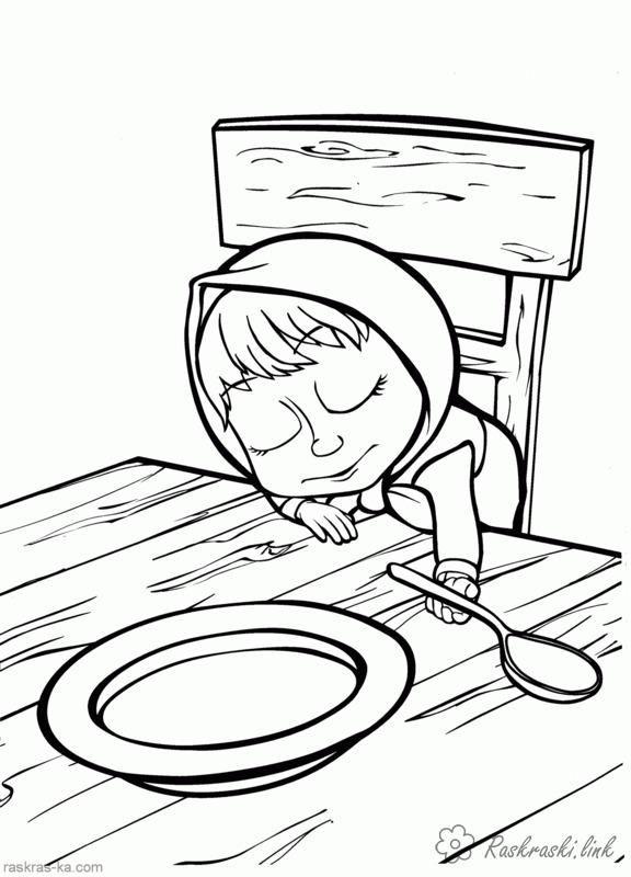 раскраска миша и медведь стол тарелка ложка раскраски