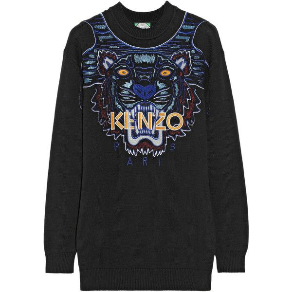 KENZO Tiger embroidered cotton sweater ($655) ❤ liked on Polyvore featuring tops, sweaters, kenzo, jumper, black, black cotton sweater, oversized sweaters, black top, cotton jumper and black embroidered top