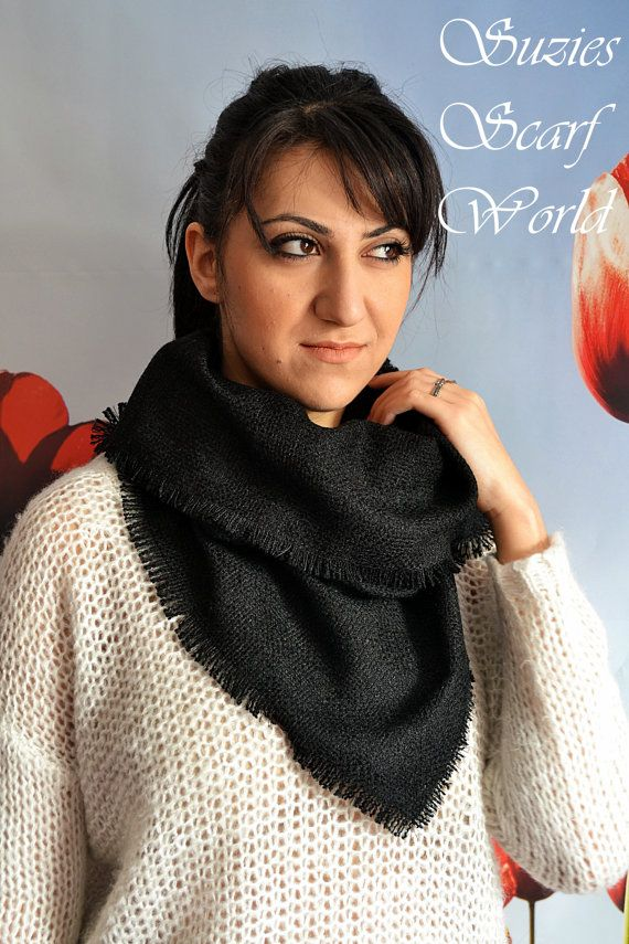 Black Long Scarf Knitted With Fringes Scarf by SuziesScarfWorld, €21.00