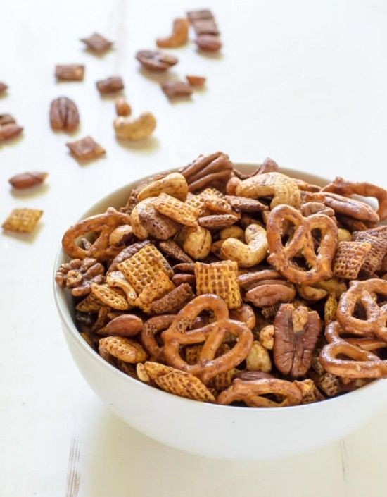 Sweet and Spicy Chex Mex. A healthy chex mix recipe made with egg whites and maple syrup