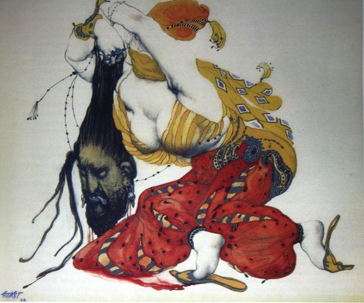 """154.  Бакст Лев  """"Юдифь с головой Олоферна""""  1922  Бумага, акварель  46х53,5  Художественный музей, Сан Антонио США"""