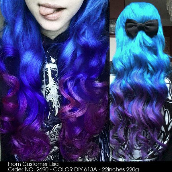 DIY your unique hair color the magic blue to purple ombre color