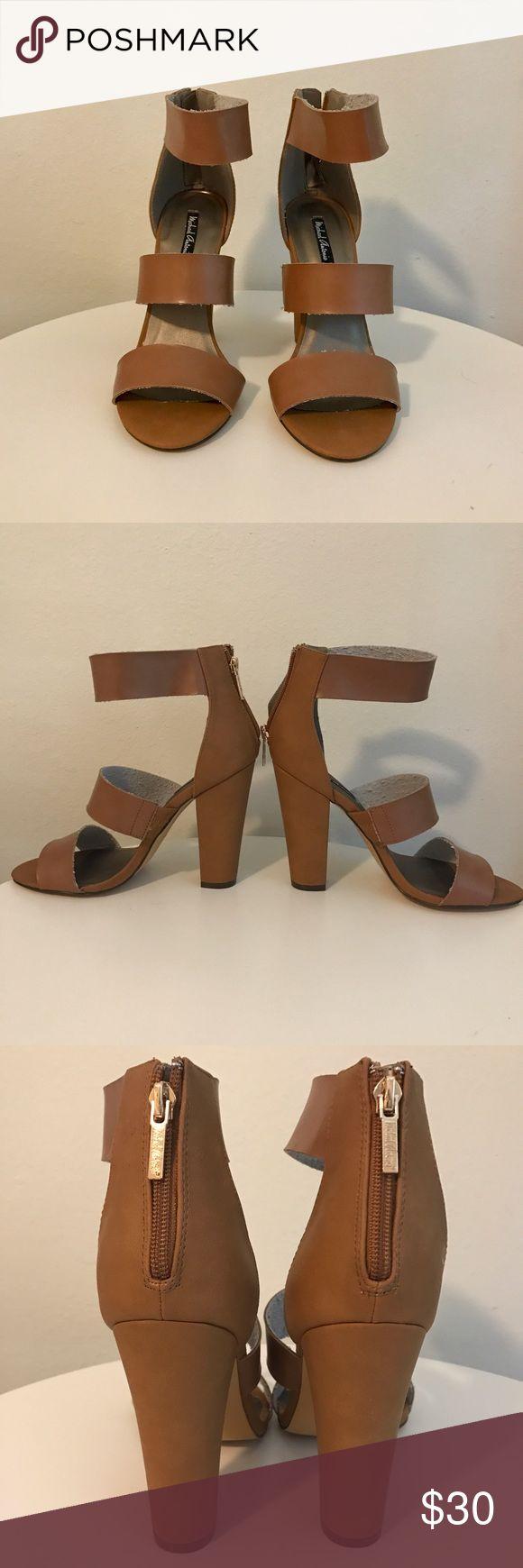 "NWOT brown heeled sandals NWOT never worn!! Opened toe heel sandals. Size 9 in whisky brown. About 4"" heel. Gold Zip up backs. Michael Antonio Shoes Heels"