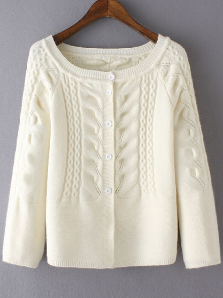 Raglan Sleeve Cable Knit White Cardigan
