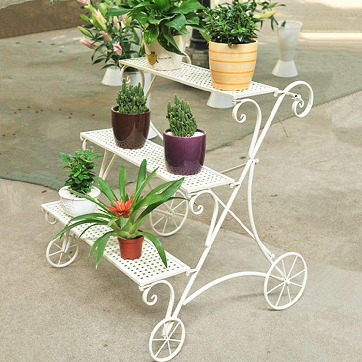 096 iron flower stand balcony flower ladder flower pot holder fleshier plant flower US $215.12