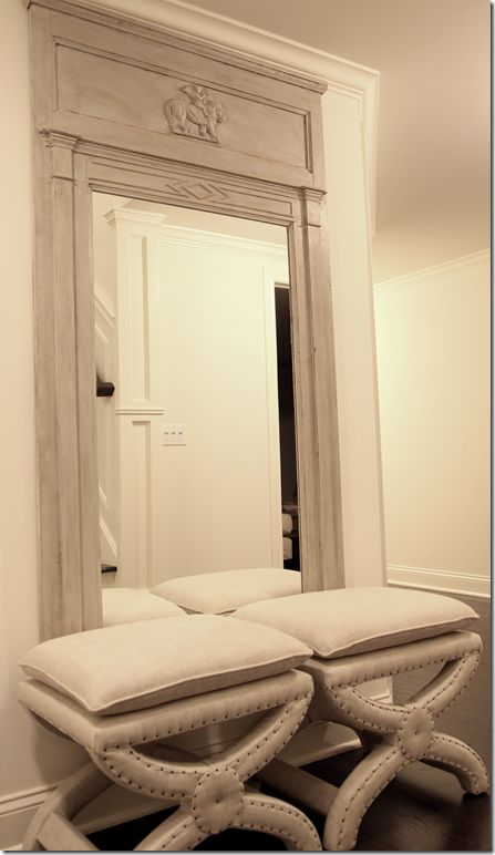 Wall Mirror with Stools: Decor Ideas, Restoration Hardware, Antiques Swedish, Hallways Benches, Floors Mirror, Wall Mirror, Basements Stairs, Interiors Design, Hardware Benches