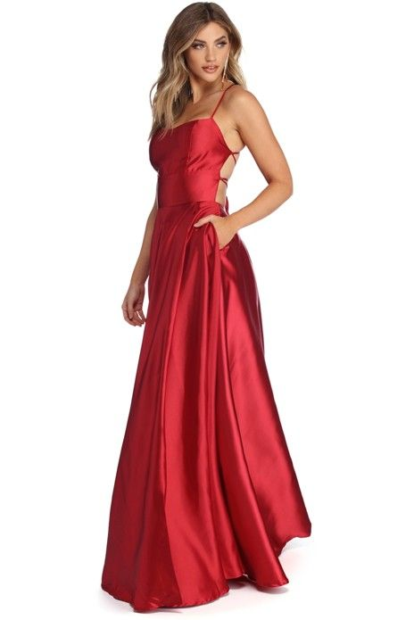 9812b890eb3c9 Stun in stylish satin as you captivate in our Anne dress! She features a  vibrant red hue, a square neckline, narrow straps that lead to a bold  lattice back ...