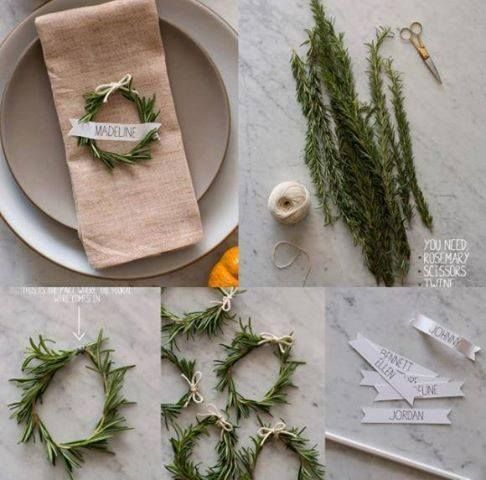 Decorating the Fall and Holidays dinner table with a miniature #rosemary #wreth or napkin ring, optionally adding name cards