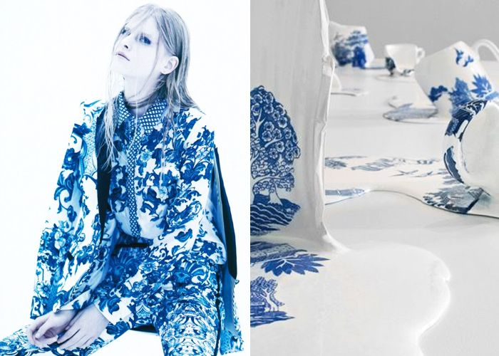 Mini Mood Board: Blueware. Porcelain inspiration from fashion designer Roberto Cavalli to artist Livia Marin