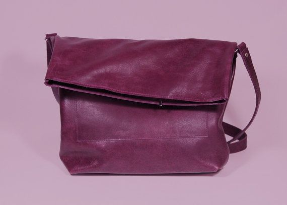 Women Leather Crossbody Bag with Zipper Ursula Plum by ARadaStore