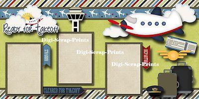 VACATION-2-premade-scrapbook-pages-paper-piecing-FLYING-layout-4-album-DIGISCRAP
