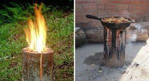 Švédská svíce ze špalku dřeva