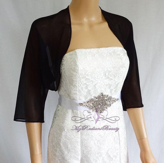 Black Chiffon Jacket SALE Wedding Bolero Silk by MyRadiantBeauty