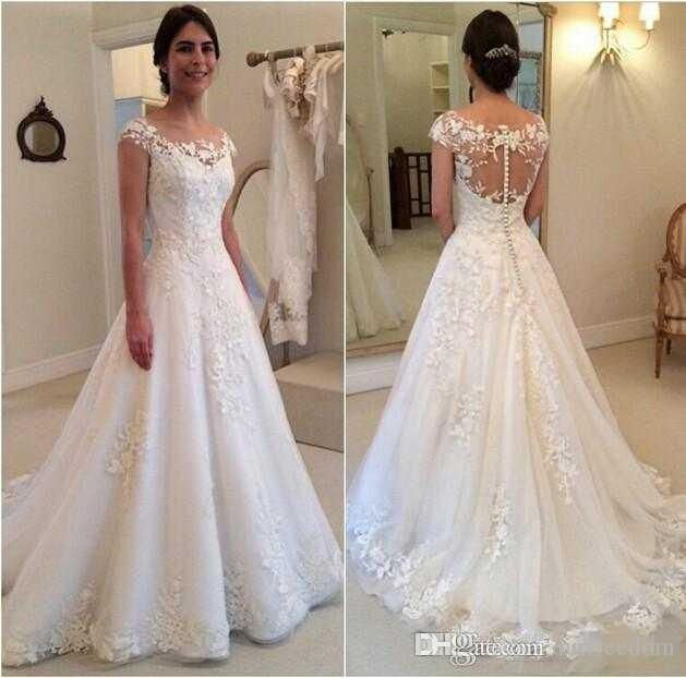 2016 modest new sheer bateau neckline wedding dresses a line lace appliques see through button back