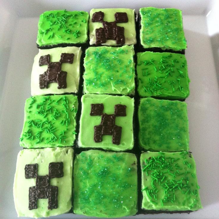 Minecraft cake blocks Homemade buttercream frosting Creeper faces